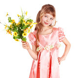 Beautiful girl with spring flower. Stock Photos