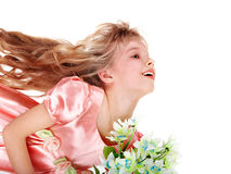 Beautiful girl with spring flower. Isolated Royalty Free Stock Image