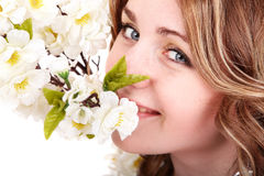 Beautiful girl with spring flower. Royalty Free Stock Images