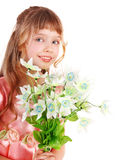 Beautiful girl with spring flower. Isolated Royalty Free Stock Photos