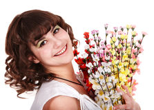 Beautiful girl with spring flower. Stock Images