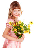 Beautiful girl with spring flower. Isolated Stock Images