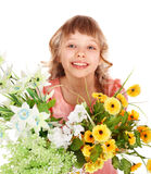 Beautiful girl with spring flower. Isolated Stock Photos