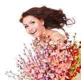 Beautiful girl with spring flower and butterfly. Stock Photos