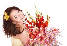 Beautiful girl with spring flower and butterfly. Stock Photography