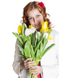 Beautiful girl with spring flowers Royalty Free Stock Image