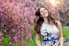 Beautiful Girl with Spring Flowers.  Royalty Free Stock Images