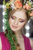 Beautiful Girl with Spring Flowers.Fresh skin. Fashion Art Portrait Of Beautiful Girl Royalty Free Stock Images