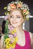 Beautiful Girl with Spring Flowers.Fresh skin stock image