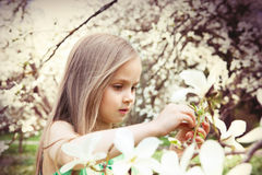 Beautiful Girl with Spring Flowers Stock Images