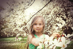 Beautiful Girl with Spring Flowers Royalty Free Stock Photo