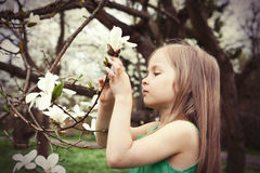 Beautiful Girl with Spring Flowers Royalty Free Stock Photos
