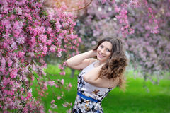 Beautiful girl in spring garden.  Stock Images