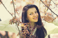 Beautiful girl in spring park Royalty Free Stock Photo