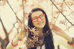 Beautiful girl in spring park Royalty Free Stock Photos
