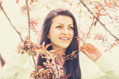Beautiful girl in spring park. Photo with filter Royalty Free Stock Images