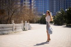 Beautiful girl in spring sunny day outdoors. Girl with long hair stock photography