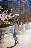 Beautiful girl in spring sunny day outdoors. Girl with long hair royalty free stock photos