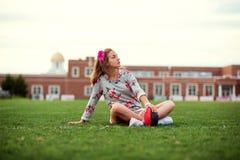 Beautiful girl at the stadium Royalty Free Stock Photo