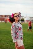 Beautiful girl at the stadium Stock Images