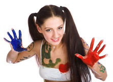 Beautiful girl, stained paint Stock Photo