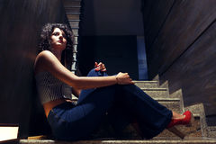 Beautiful girl on stairs Royalty Free Stock Photo