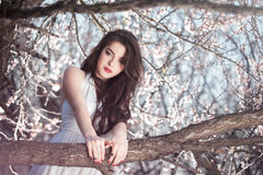 Beautiful girl standing at blossoming tree in the garden Royalty Free Stock Image