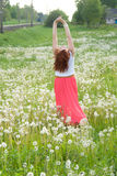 Beautiful girl standing on the field Stock Photography