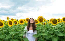 Beautiful girl standing relaxed in sunflower field. Beautiful young girl standing relaxed in sunflower field royalty free stock photos