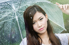 Beautiful girl is standing with umbrella  among rain Stock Photography