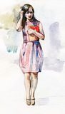 Beautiful girl staying with the folder watercolor illustration Stock Images