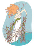 Beautiful girl staying in water illustration. Beautiful folk-dressed redhead girl staying in reeds illustration Stock Photos