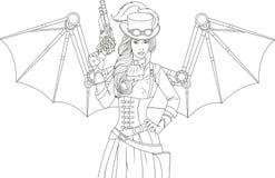Beautiful girl with a steampunk gun stock illustration
