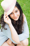 Beautiful girl with straw hat Royalty Free Stock Images