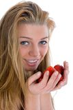 Beautiful girl with strawberry Stock Image