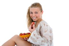 Beautiful girl with strawberry Stock Photo