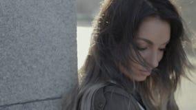 Beautiful girl on the street.  stock video footage