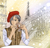 Beautiful girl in the street cafe in Paris drinkin vector illustration