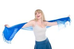 The beautiful girl with the stretched scarf Stock Photography