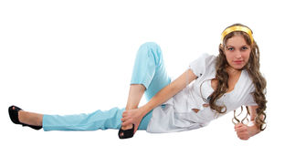 Beautiful girl stretching Royalty Free Stock Photography