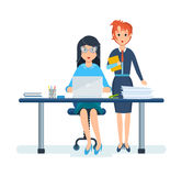 Beautiful girl in strict clothing, working next to her colleague. Beautiful girl in strict clothing, working at computer in office, among interior of cabinet Stock Photos