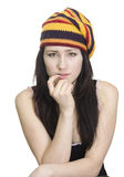 Beautiful girl in striped beret. Young beautiful woman on white background Royalty Free Stock Photography