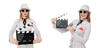 Beautiful girl in striped clothing holding clapperboard isolated Stock Photos