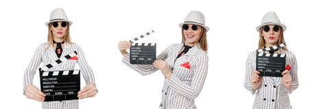 Beautiful girl in striped clothing holding clapperboard isolated Royalty Free Stock Photography