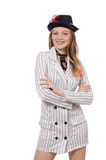 Beautiful girl in striped clothing isolated on Royalty Free Stock Photography