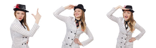 The beautiful girl in striped clothing isolated on white Stock Images