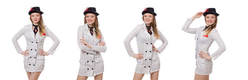 The beautiful girl in striped clothing isolated on white Royalty Free Stock Images