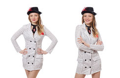 The beautiful girl in striped clothing isolated on white Stock Photos