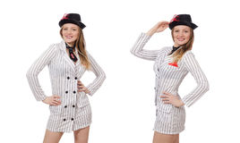The beautiful girl in striped clothing isolated on white Stock Photo