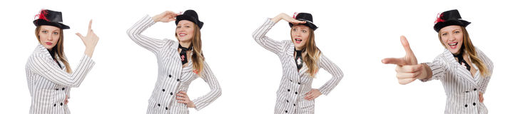The beautiful girl in striped clothing isolated on white Stock Photography